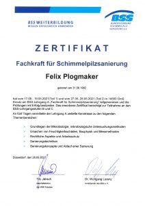 Zertifikat als Fachkraft für Schimmelpilzsanierung von Felix Plogmaker