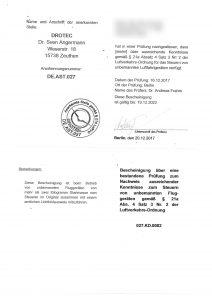 Drotec Zertifikat